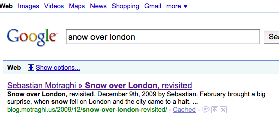 snow over london on google